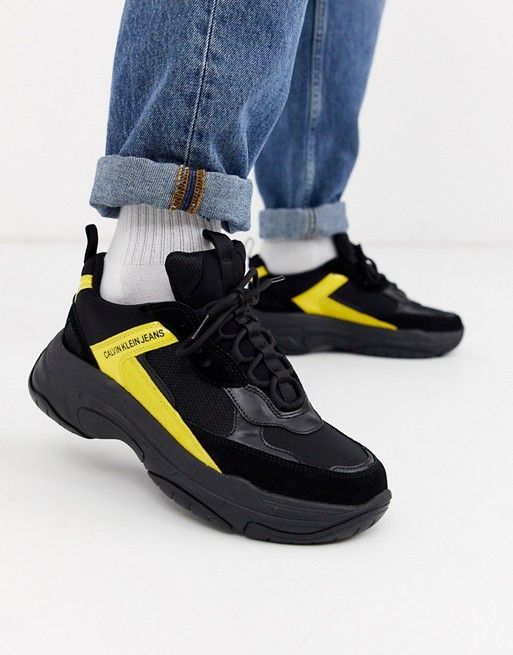 Calvin Klein - Marvin - Baskets chunky - Noir et jaune