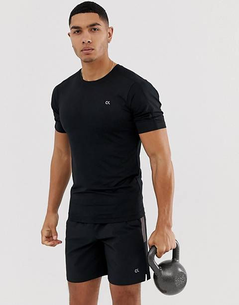 Calvin Klein Performance mesh back t-shirt with reflective details in black