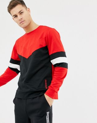 Calvin Klein Performance paneled color block crew neck sweat