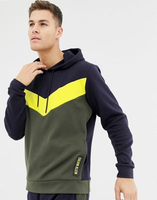 Calvin Klein Performance paneled color block hoodie