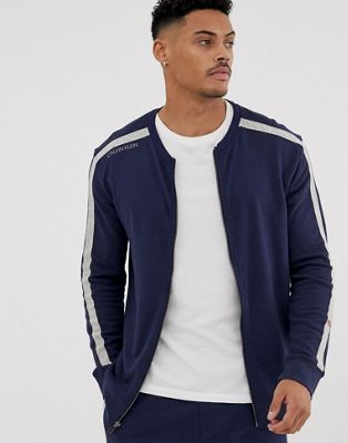 Calvin Klein Statement 1981 zip-thru baseball jacket in navy