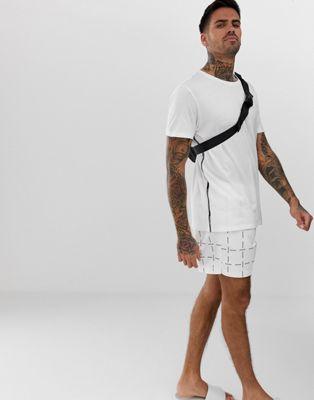 Blanc Logo De T Avec Klein Plage Calvin shirt Tawqvf1