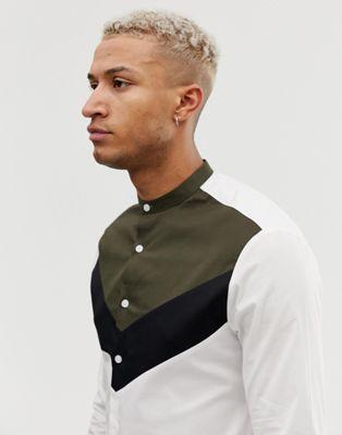 Design Con Y Camisa Cosidos Ajustada Paneles Cuello Henley De Asos kPXZiu