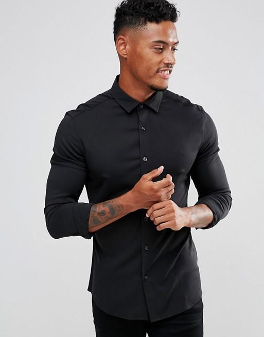 Camisa ajustada de viscosa en negro de ASOS DESIGN