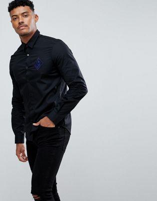 Imagen 1 de Camisa ajustada negra con logo bordado de Versace Jeans