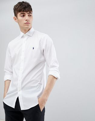 Camisa de corte slim de popelina con cuello italiano con jugador de polo en blanco de Polo Ralph Lauren