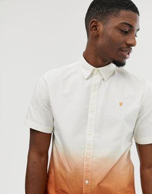 Camisa de manga corta naranja con diseño sombreado Matthias de Farah