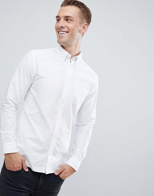 Imagen 1 de Camisa Oxford de corte slim en blanco Essentials de Jack & Jones