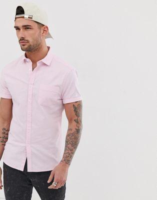Imagen 1 de Camisa Oxford rosa ajustada de estilo casual de ASOS DESIGN