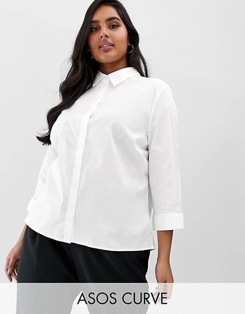 Camisas de manga 3/4 de algodón elástico de ASOS DESIGN Curve