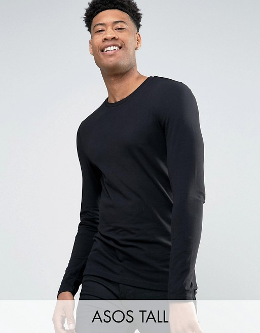 Camiseta ajustada de manga larga con cuello redondo en negro de ASOS DESIGN Tall