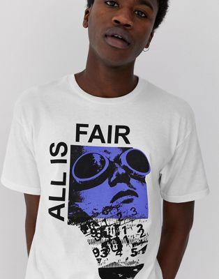 De Con Estampado Blanca All Fair El Is Fairplay En Camiseta Pecho 0wv8nmN