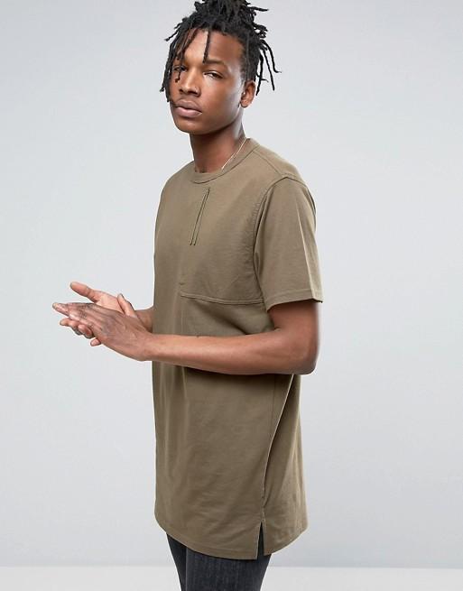 7a8acc4e16 Camiseta caqui con bolsillo grande de Maharishi