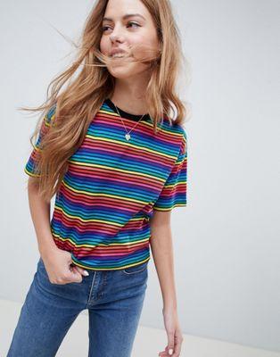 Imagen 1 de Camiseta con rayas multicolor y cuello redondo de ASOS DESIGN