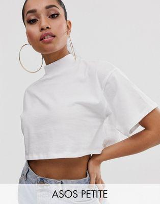 Design Cuello Camiseta En De Asos Subido Corta Con Petite Blanco SzMpUV