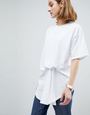 Camiseta de algodón 100% orgánico con detalle de pliegues minimalistas de ASOS WHITE