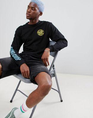 Camiseta de manga larga de lunares descoloridos en negro MFG de Santa Cruz