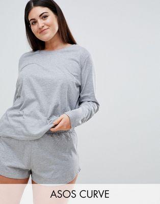 Camiseta de pijama de manga larga Mix & Match de ASOS DESIGN Curve