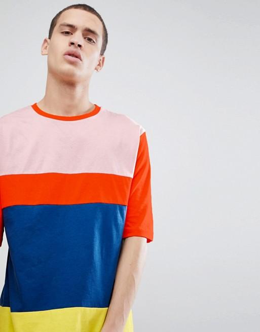 Camiseta extragrande con media manga y diseño colour block brillante de ASOS DESIGN