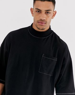 Asos Con En Bolsillo Cuello Y Camiseta Contraste Pespuntes Alto Extragrande Negra Design De AR45Lj