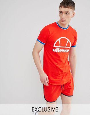 Imagen 1 de Camiseta larga y ajustada en rojo con logo de ellesse