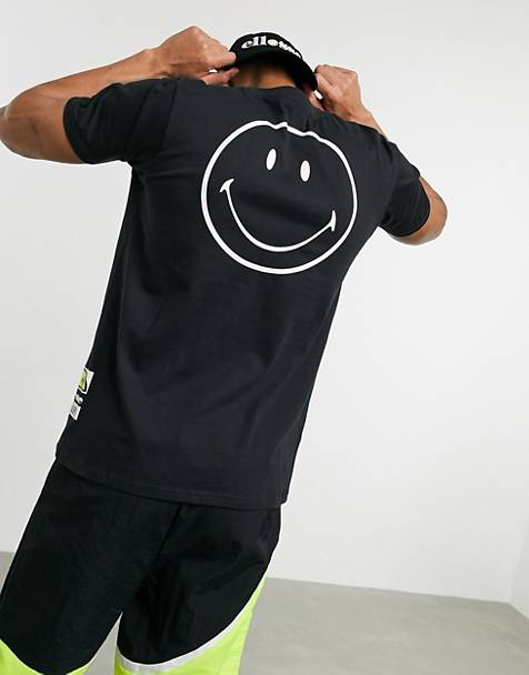Camiseta negra Rapallo de ellesse x Smiley