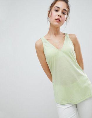 Camiseta sin mangas de mezcla de lino con cuello en V de ASOS DESIGN