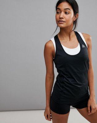Camiseta sin mangas negra para correr con espalda de nadador de Reebok