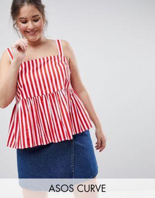 Camisola amplia de algodón a rayas de ASOS DESIGN CURVE