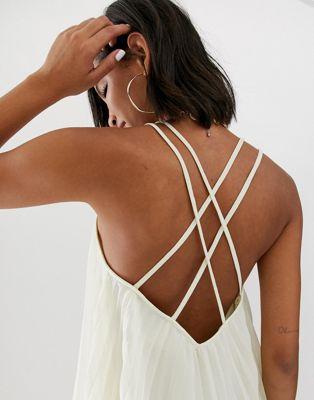 Plisada Design Con Camisola Asos De Espalda Cruzada n0k8PwO