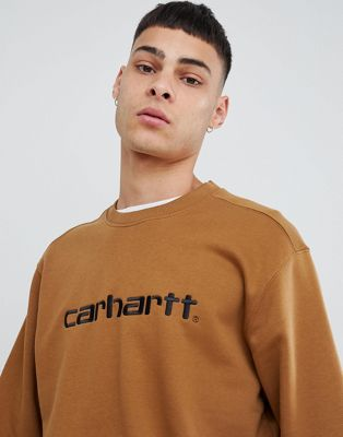 Carhartt WIP embroidered logo sweatshirt in brown