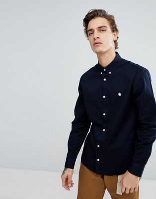 Carhartt WIP Long Sleeve Madison Oxford Shirt In Navy