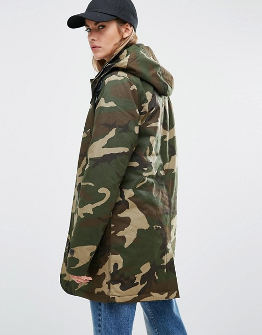 picked up on sale sold worldwide Carhartt WIP Oversized Smith Hooded Parka Coat In Camo Print