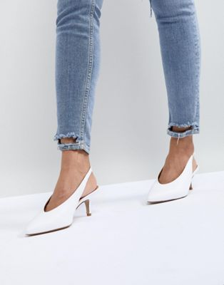 Carvela Amy White Point Leather Kitten Heels
