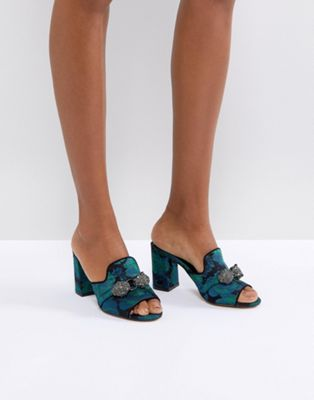 Carvela Brocade Mule with Jewels