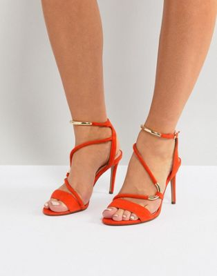 Carvela Orange Strappy Barely There Sandal
