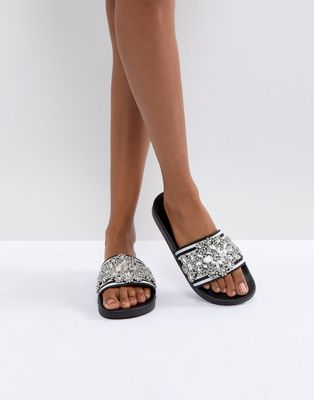 Carvela Sports Strip & Emeblished Slider