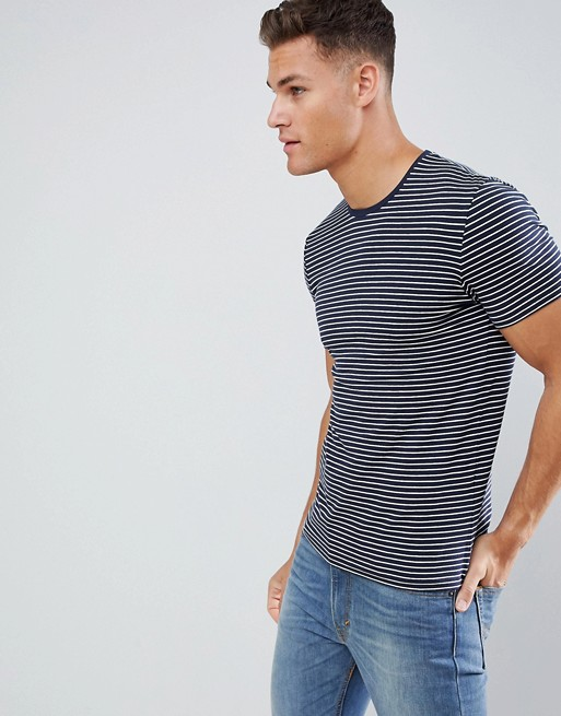 Image 1 of Celio Crew Neck Muscle Fit T-Shirt In Stripe