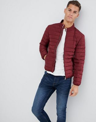 Celio Quilted Jacket In Red