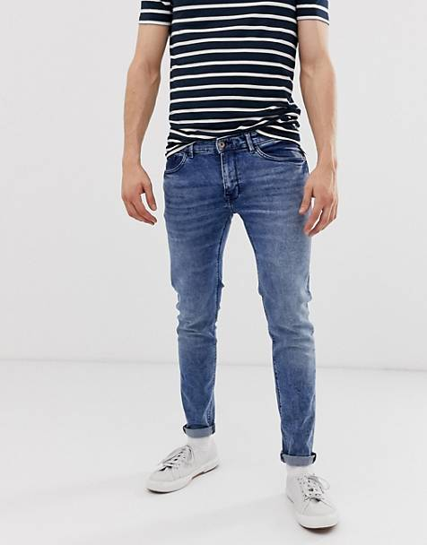Celio skinny fit jeans in double stone wash blue