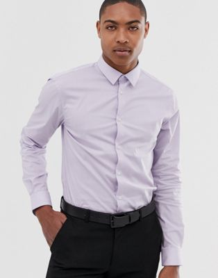 Celio smart shirt with stretch in lilac