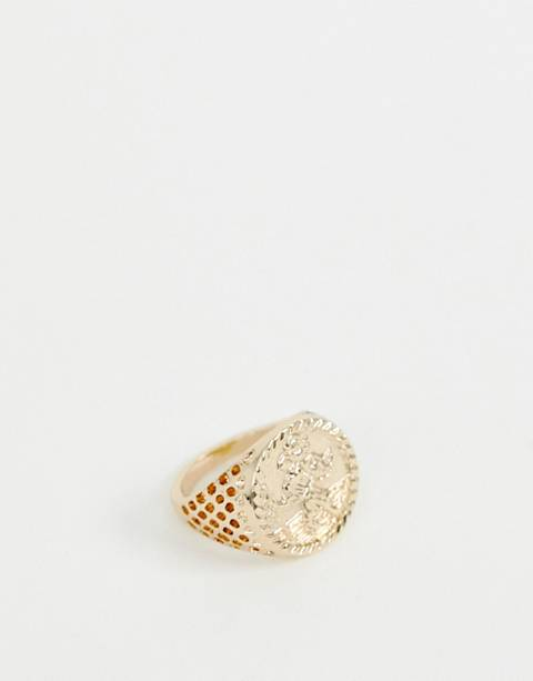Chained & Able St Christopher sovereign ring in gold