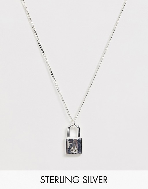 Image 1 of Chained & Able sterling silver padlock neck chain in silver