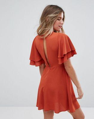 Чайное платье с двухслойными оборками New Look