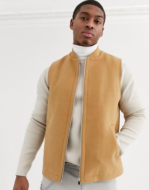 Chaleco de mezcla de lana color camel de ASOS DESIGN