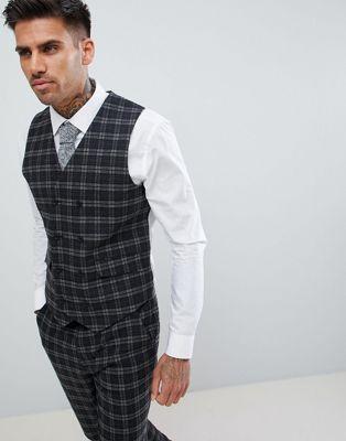 Chaleco de traje de corte muy ajustado a cuadros en el mismo tono de gris de ASOS DESIGN