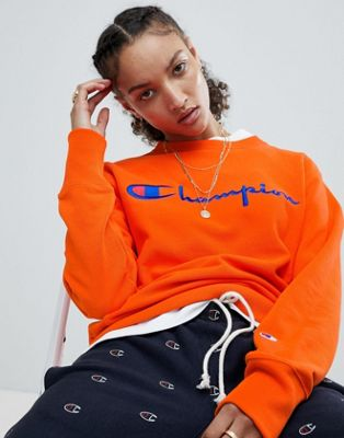 Champion Crewneck Sweatshirt With Script Chest Logo