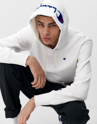 Image 1 of Champion hoodie with logo hood in white