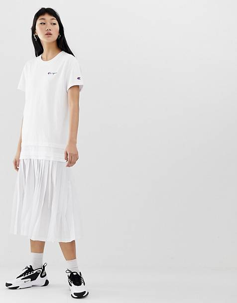 Champion midi t-shirt dress with script logo and pleated skirt