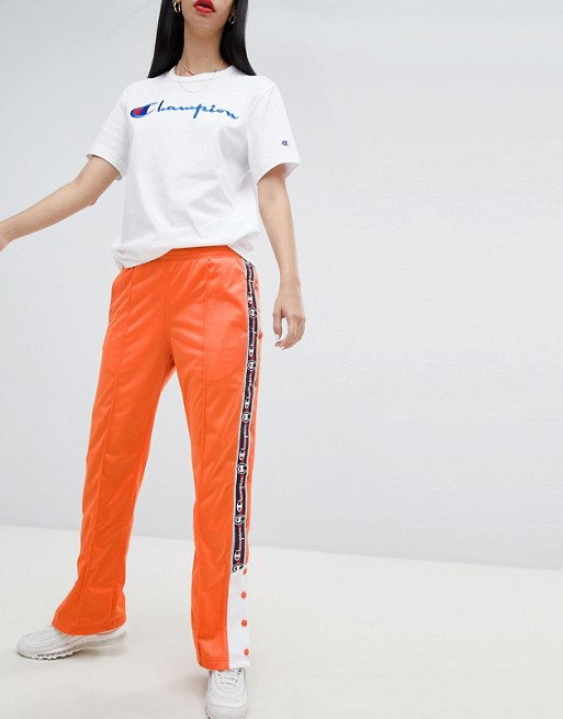 Image 1 of Champion popper tracksuit bottoms with logo taping